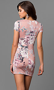 Image of scoop-neck floral-print mini party dress. Style: BLU-BD8427-1 Back Image