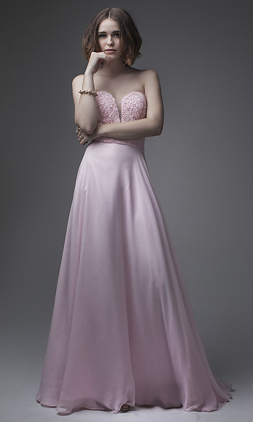 Pastel Pink Prom Dress with a Sheer Back