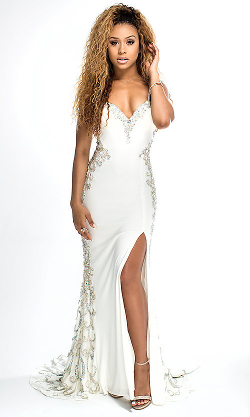 Long Brit Cameron V-Neck White Prom Dress