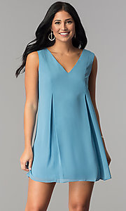 Image of short casual blue chiffon shift wedding-guest dress. Style: BC-VDW64M34 Front Image