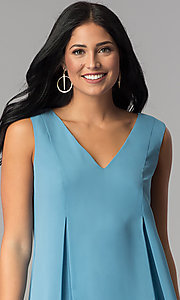 Image of short casual blue chiffon shift wedding-guest dress. Style: BC-VDW64M34 Detail Image 1