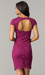 Image of short lace cap-sleeve party dress with back cut out. Style: JU-MA-263633 Back Image