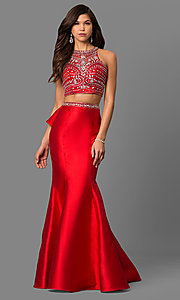 Image of long high-neck beaded-bodice prom dress with ruffle. Style: DQ-9916 Detail Image 1