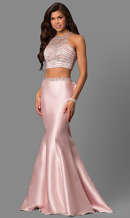 Image of long high-neck beaded-bodice prom dress with ruffle. Style: DQ-9916 Front Image