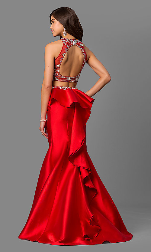 Image of long high-neck beaded-bodice prom dress with ruffle. Style: DQ-9916 Back Image