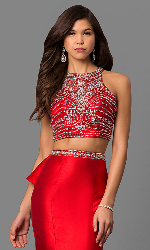 Image of long high-neck beaded-bodice prom dress with ruffle. Style: DQ-9916 Detail Image 2