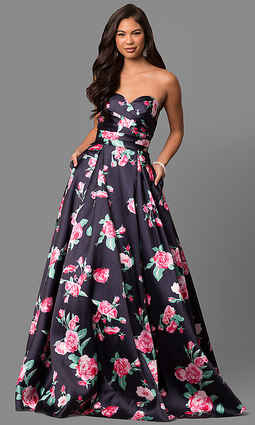 Strapless Sweetheart Floral Print Prom Dress