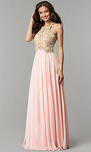 Image of long prom dress with embellished racerback bodice. Style: DQ-9776 Detail Image 1