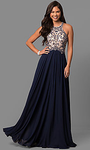 Image of long prom dress with embellished racerback bodice. Style: DQ-9776 Front Image