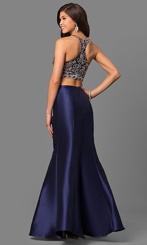 Image of two-piece long satin prom dress with rhinestones. Style: DQ-9831 Back Image