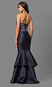 Image of long tiered strapless prom dress with corset back. Style: DQ-9917 Back Image