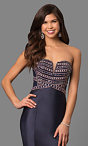 Image of long tiered strapless prom dress with corset back. Style: DQ-9917 Detail Image 1
