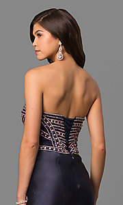 Image of long tiered strapless prom dress with corset back. Style: DQ-9917 Detail Image 2