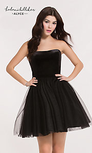 Image of strapless black short Alyce homecoming dress. Style: AL-2634 Front Image