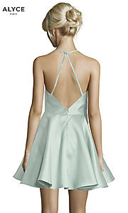 Image of short fit-and-flare open-back party dress by Alyce. Style: AL-3703 Detail Image 4