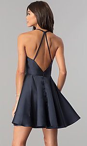 Image of short fit-and-flare open-back party dress by Alyce. Style: AL-3703 Back Image