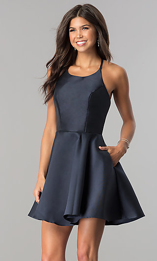 Short Fit-and-Flare Open-Back Party Dress by Alyce