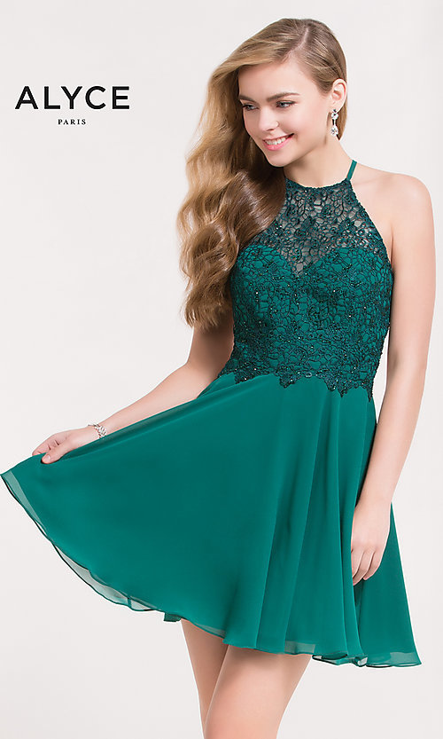 Image of open-back short chiffon homecoming party dress. Style: AL-3717 Front Image