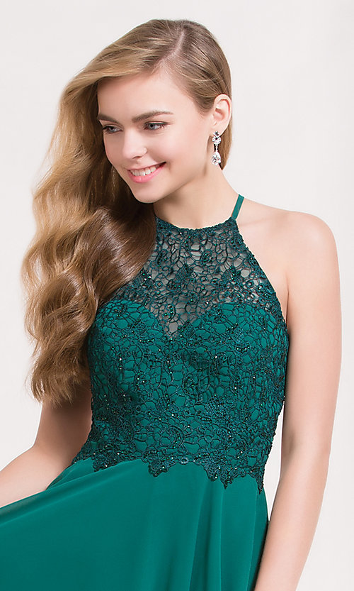Image of open-back short chiffon homecoming party dress. Style: AL-3717 Detail Image 1