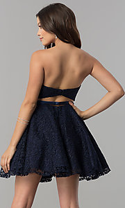 Image of short strapless sweetheart lace homecoming dress. Style: AL-3741 Back Image