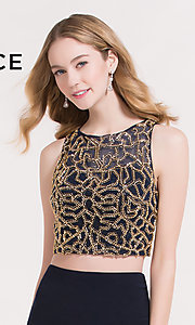 Image of navy blue and gold two-piece homecoming dress. Style: AL-4474 Detail Image 1