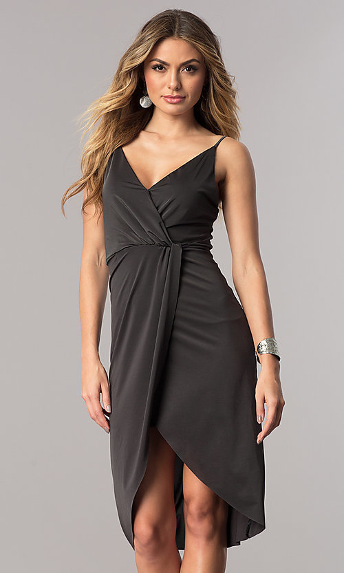 Image of short mock-wrap wedding-guest party dress in charcoal. Style: AC-DA23518R Front Image