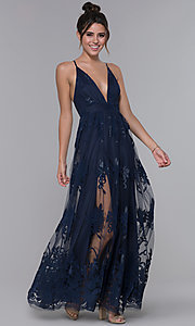 Image of long v-neck illusion open-back dress with print. Style: LUX-LD3452 Detail Image 2