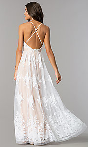 Image of long v-neck illusion open-back dress with print. Style: LUX-LD3452 Back Image