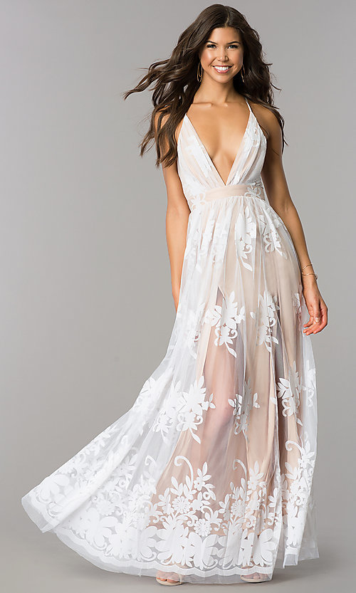 Image of long v-neck illusion open-back dress with print. Style: LUX-LD3452 Front Image