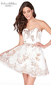 Image of diamond white short homecoming dress with sequins. Style: AL-2650 Front Image