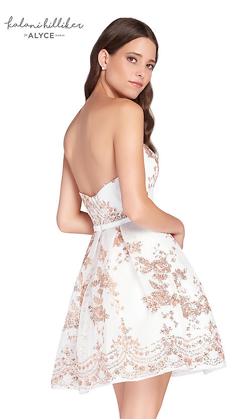 Image of diamond white short homecoming dress with sequins. Style: AL-2650 Back Image