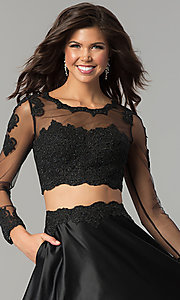 Image of long-sleeve two-piece prom dress with lace bodice. Style: DQ-9950 Detail Image 3