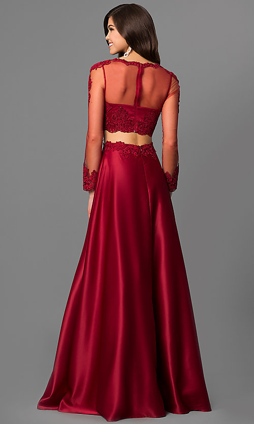 Image of long-sleeve two-piece prom dress with lace bodice. Style: DQ-9950 Back Image