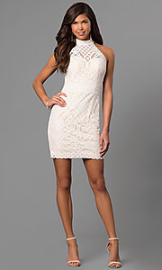 Image of high-neck short lace graduation dress in ivory. Style: DJ-A5769 Detail Image 1