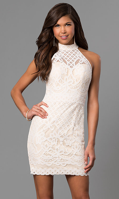 Image of high-neck short lace graduation dress in ivory. Style: DJ-A5769 Front Image