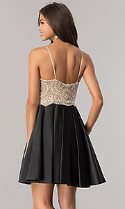 Image of black satin homecoming dress with beaded bodice. Style: DJ-A5406 Back Image