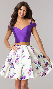 Image of purple short two-piece print-skirt homecoming dress. Style: DJ-A6111 Front Image