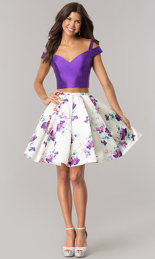 Image of purple short two-piece print-skirt homecoming dress. Style: DJ-A6111 Detail Image 1