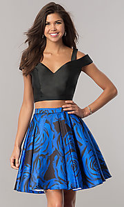 Image of two-piece junior-size homecoming dress with pockets. Style: DJ-A6110 Front Image