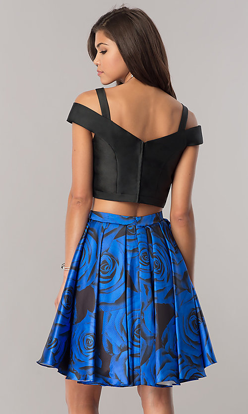 Image of two-piece junior-size homecoming dress with pockets. Style: DJ-A6110 Back Image
