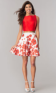 Image of Dave & Johnny two-piece homecoming dress with print. Style: DJ-A6043 Detail Image 1