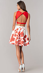 Image of Dave & Johnny two-piece homecoming dress with print. Style: DJ-A6043 Detail Image 3