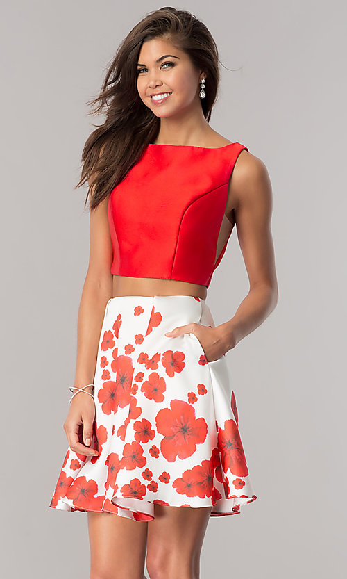 Image of Dave & Johnny two-piece homecoming dress with print. Style: DJ-A6043 Detail Image 2