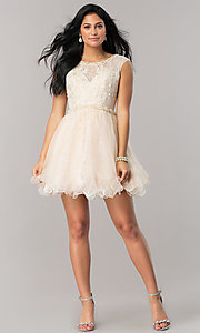 Image of short lace babydoll homecoming dress in blush pink. Style: DJ-A5669 Detail Image 1