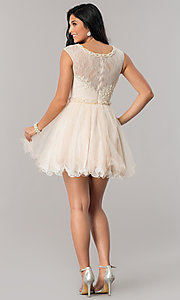 Image of short lace babydoll homecoming dress in blush pink. Style: DJ-A5669 Detail Image 2