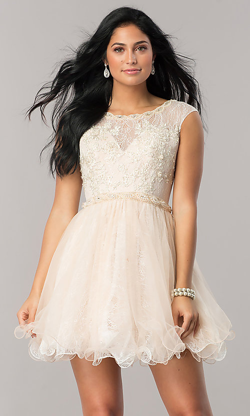 Image of short lace babydoll homecoming dress in blush pink. Style: DJ-A5669 Front Image