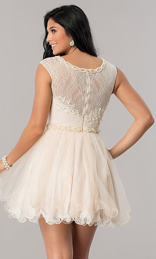 Image of short lace babydoll homecoming dress in blush pink. Style: DJ-A5669 Back Image