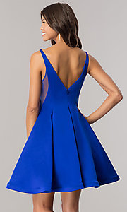 Image of Dave and Johnny royal blue short homecoming dress. Style: DJ-A5403 Back Image