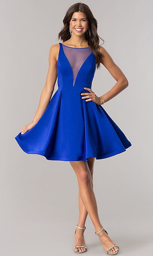 Image of Dave and Johnny royal blue short homecoming dress. Style: DJ-A5403 Detail Image 1
