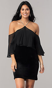Image of black Dave and Johnny sheath homecoming dress. Style: DJ-A5479 Front Image